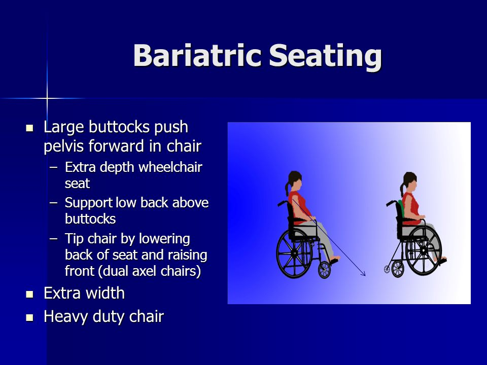 Bariatric Seating Large buttocks push pelvis forward in chair Large buttocks push pelvis forward in chair –Extra depth wheelchair seat –Support low back above buttocks –Tip chair by lowering back of seat and raising front (dual axel chairs) Extra width Extra width Heavy duty chair Heavy duty chair