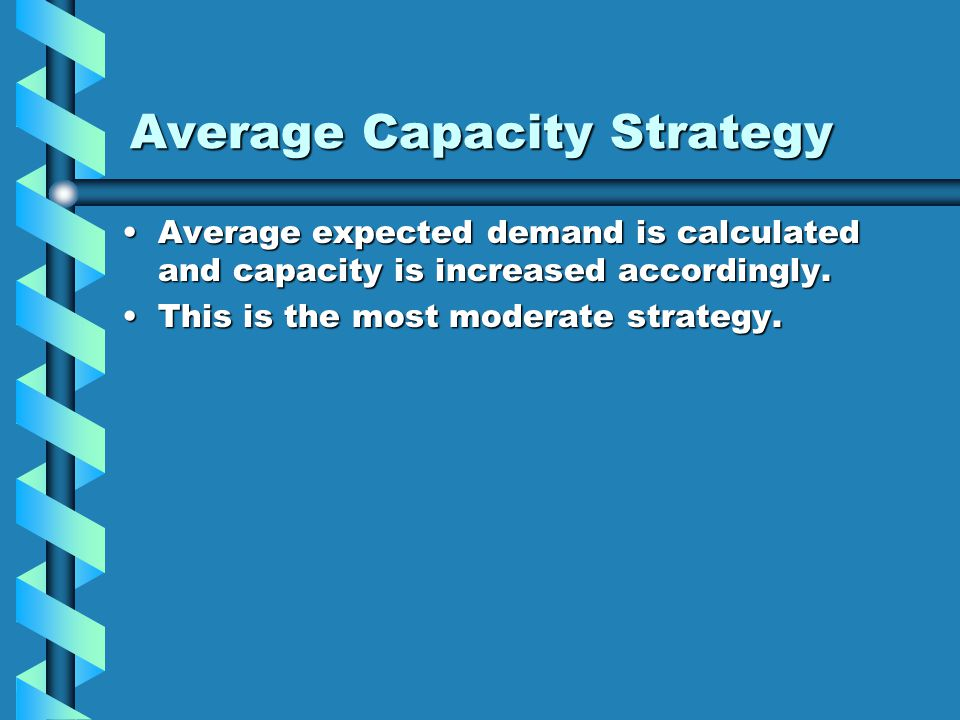 Average Capacity Strategy Average expected demand is calculated and capacity is increased accordingly.Average expected demand is calculated and capaci