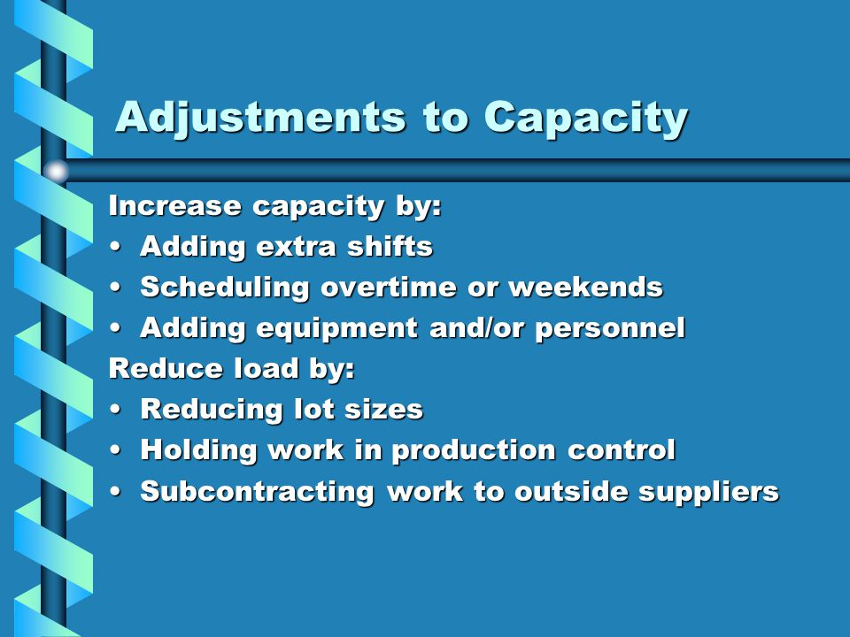 Adjustments to Capacity Increase capacity by: Adding extra shiftsAdding extra shifts Scheduling overtime or weekendsScheduling overtime or weekends Ad