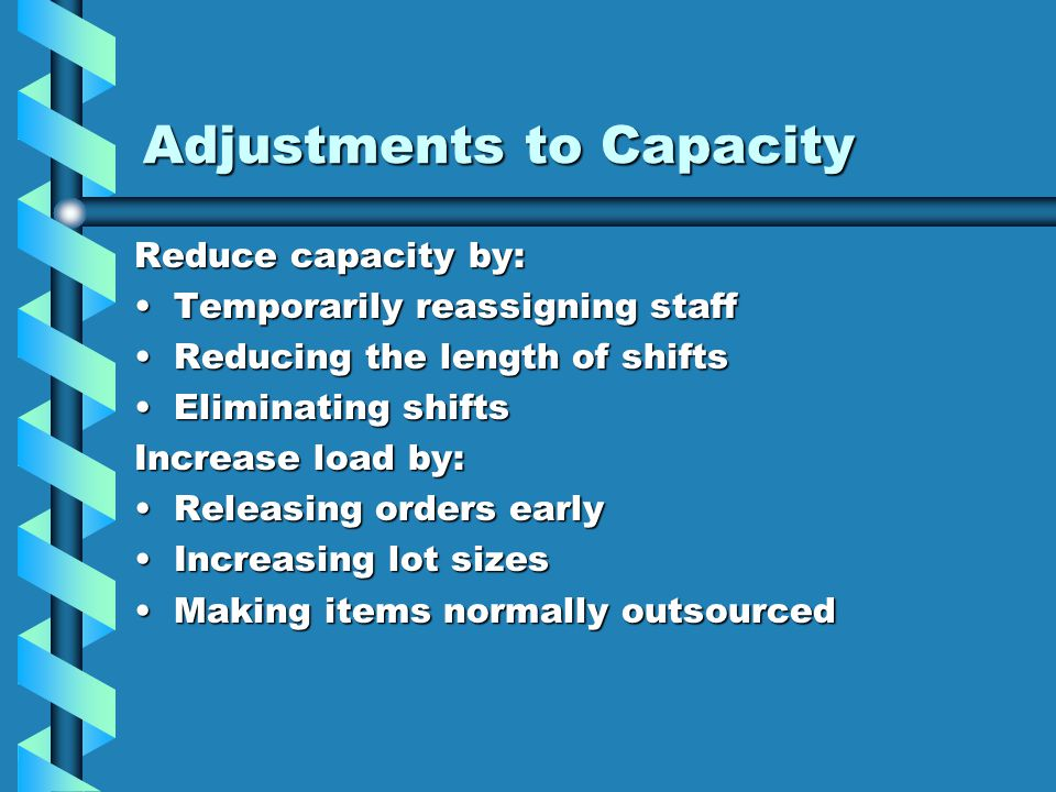 Adjustments to Capacity Reduce capacity by: Temporarily reassigning staffTemporarily reassigning staff Reducing the length of shiftsReducing the lengt