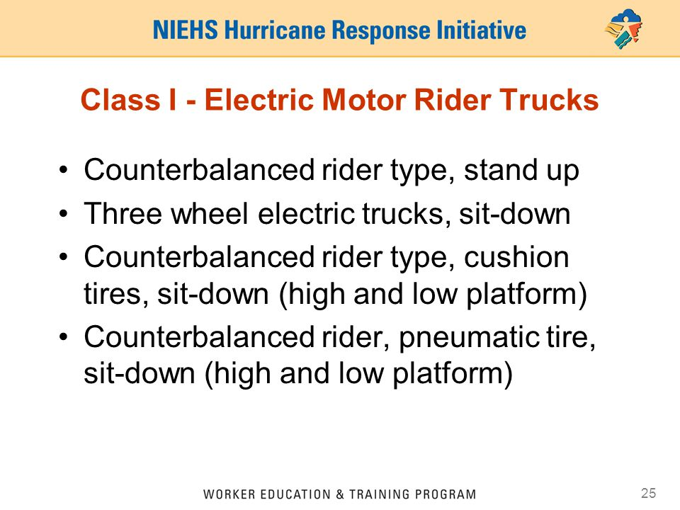 25 Class I - Electric Motor Rider Trucks Counterbalanced rider type, stand up Three wheel electric trucks, sit-down Counterbalanced rider type, cushio