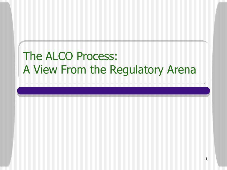 1 The ALCO Process: A View From the Regulatory Arena
