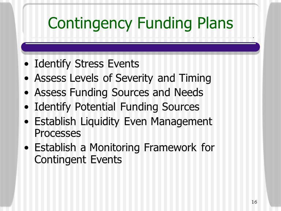 16 Contingency Funding Plans Identify Stress Events Assess Levels of Severity and Timing Assess Funding Sources and Needs Identify Potential Funding S