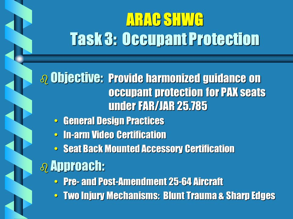 ARAC SHWG Task 3: Occupant Protection b Objective: Provide harmonized guidance on occupant protection for PAX seats under FAR/JAR 25.785 General Design PracticesGeneral Design Practices In-arm Video CertificationIn-arm Video Certification Seat Back Mounted Accessory CertificationSeat Back Mounted Accessory Certification b Approach: Pre- and Post-Amendment 25-64 AircraftPre- and Post-Amendment 25-64 Aircraft Two Injury Mechanisms: Blunt Trauma & Sharp EdgesTwo Injury Mechanisms: Blunt Trauma & Sharp Edges
