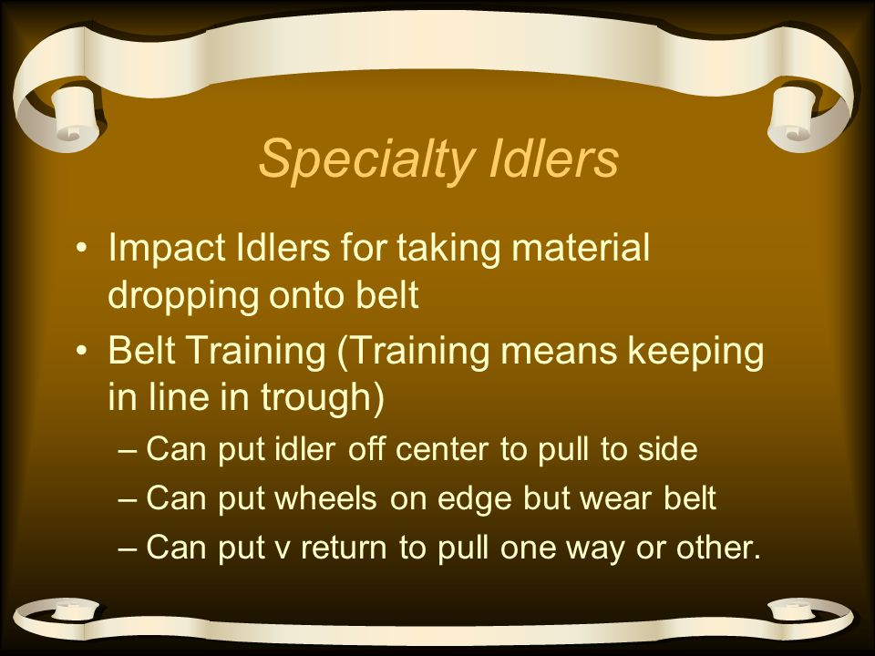 Return Idlers Usually Flat and one piece Sometimes two piece V for belt training Spiral roll to self and belt clean