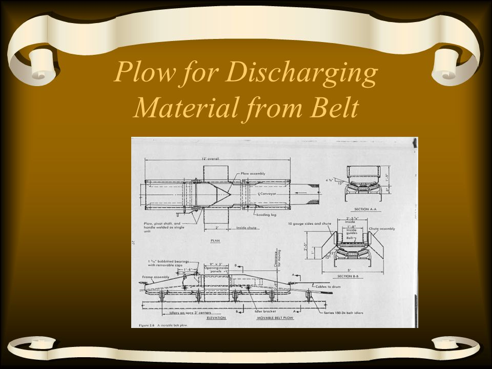 Unloading a Belt Plow - V on belt pushes off to sides. –Limited speed about 200 fpm –Need flat belt Tripper - moving plow to one side –can trip from o