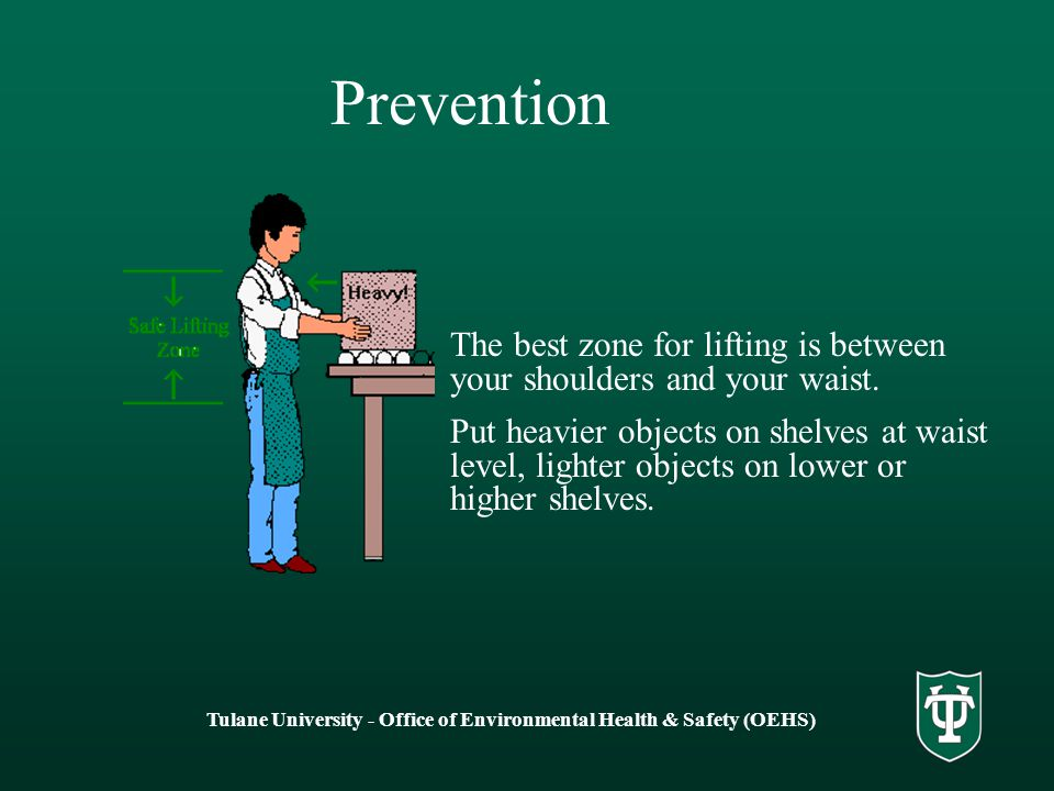Prevention The best zone for lifting is between your shoulders and your waist.