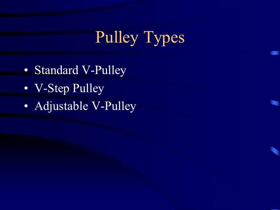 Pulley Types Standard V-Pulley V-Step Pulley Adjustable V-Pulley