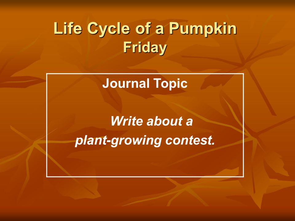 Life Cycle of a Pumpkin Friday Journal Topic Write about a plant-growing contest.