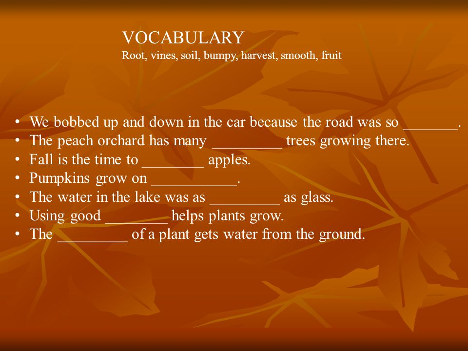 VOCABULARY Root, vines, soil, bumpy, harvest, smooth, fruit We bobbed up and down in the car because the road was so _______.