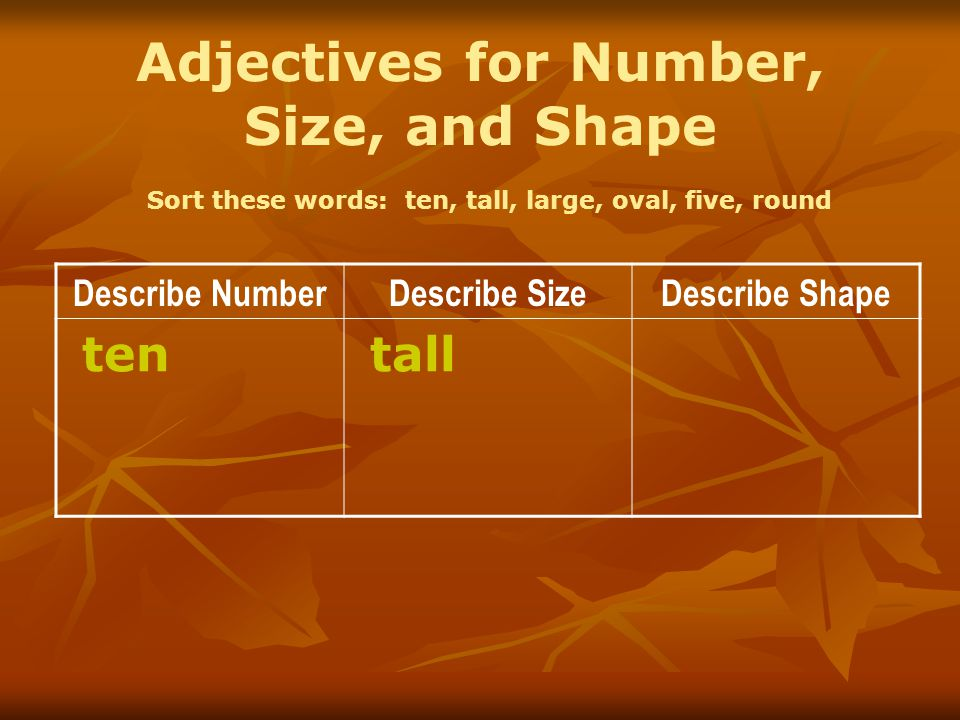 Adjectives for Number, Size, and Shape Sort these words: ten, tall, large, oval, five, round Describe NumberDescribe SizeDescribe Shape ten tall