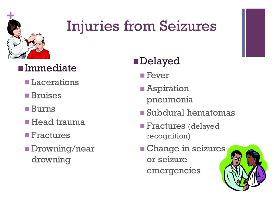 + Injuries from Seizures Immediate Lacerations Bruises Burns Head trauma Fractures Drowning/near drowning Delayed Fever Aspiration pneumonia Subdural hematomas Fractures (delayed recognition) Change in seizures or seizure emergencies