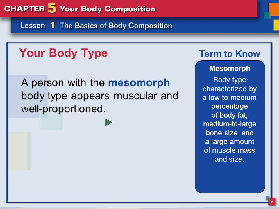 6 Your Body Type A person with the mesomorph body type appears muscular and well-proportioned.