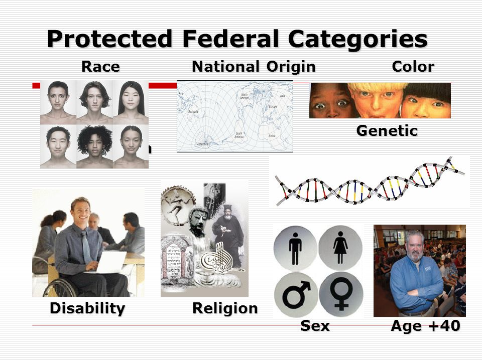 Protected Federal Categories Race National Origin Color Race National Origin Color Genetic Information Genetic Information Disability Religion Sex Age +40 Disability Religion Sex Age +40