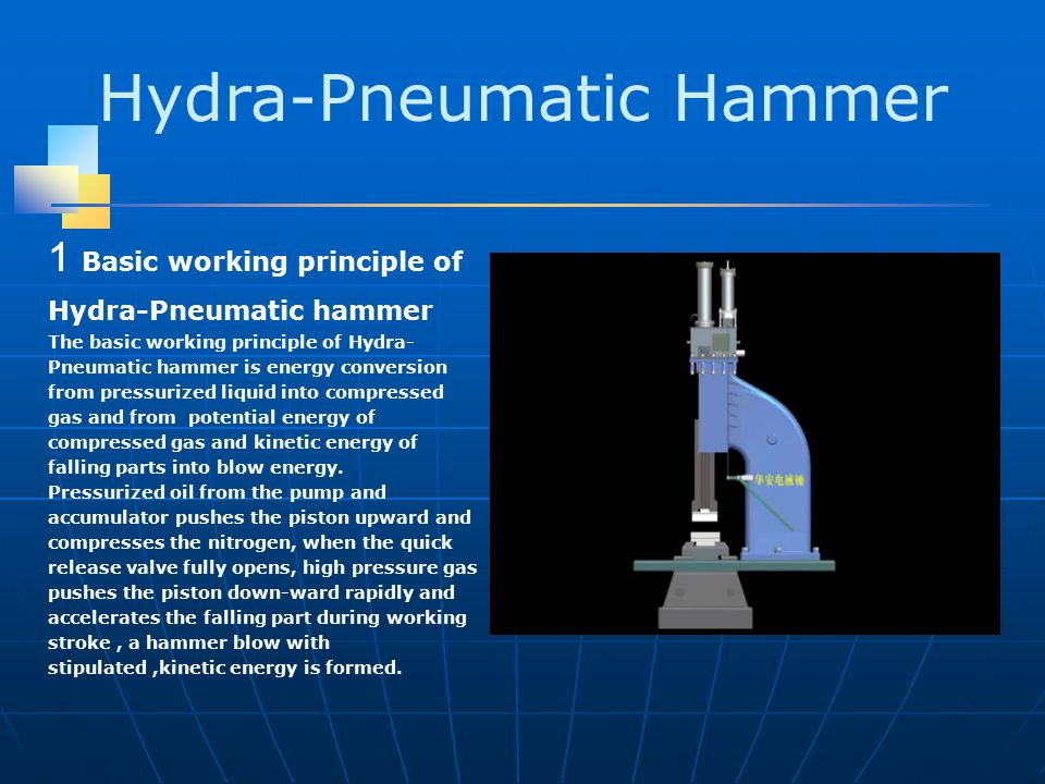 Hydra-Pneumatic Hammer 1 Basic working principle of Hydra-Pneumatic hammer The basic working principle of Hydra- Pneumatic hammer is energy conversion from pressurized liquid into compressed gas and from potential energy of compressed gas and kinetic energy of falling parts into blow energy.
