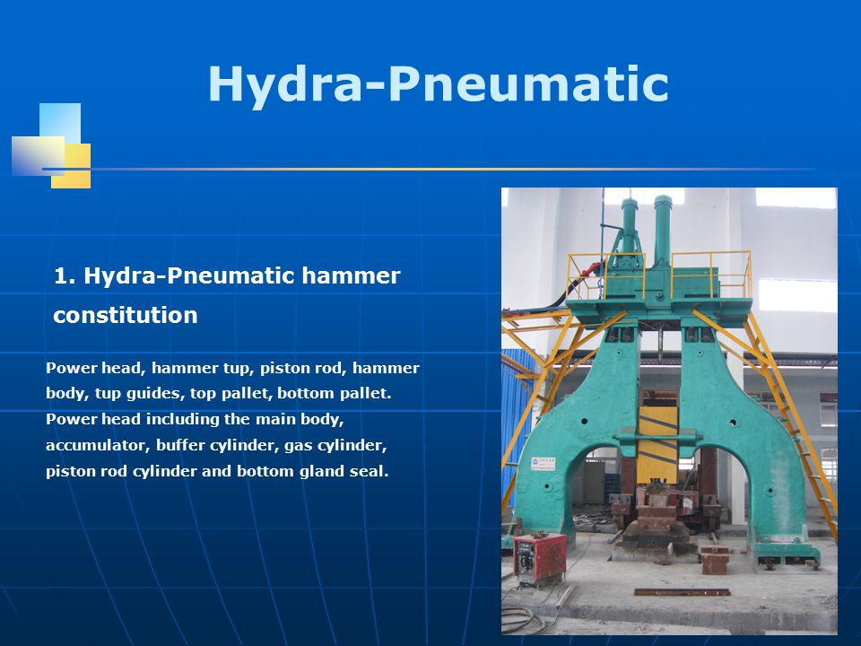 Hydra-Pneumatic Power head, hammer tup, piston rod, hammer body, tup guides, top pallet, bottom pallet.