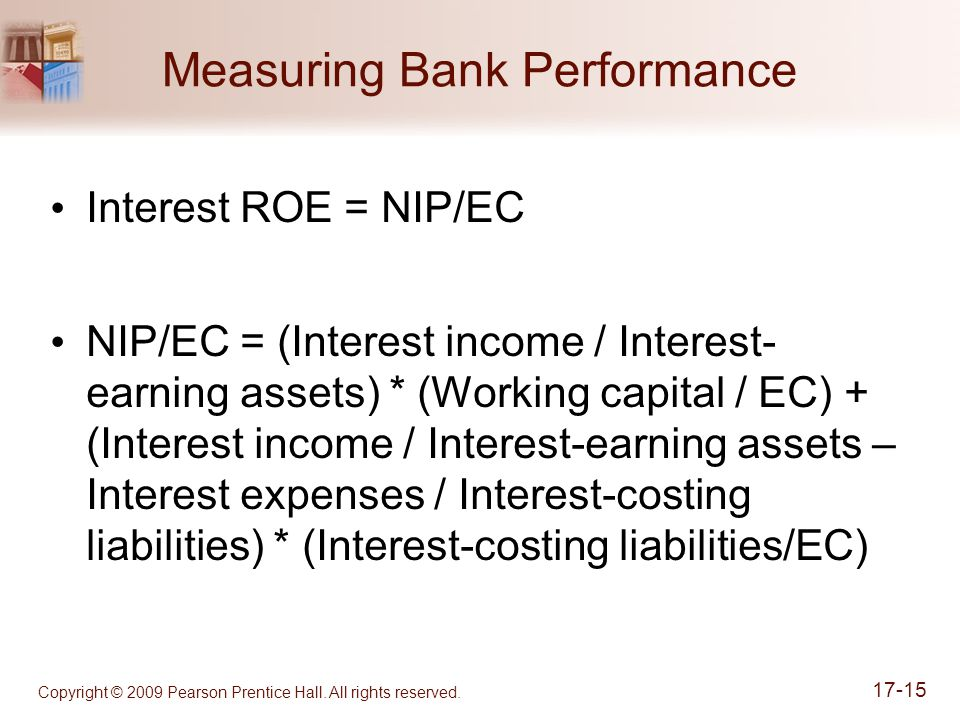 Measuring Bank Performance Interest ROE = NIP/EC NIP/EC = (Interest income / Interest- earning assets) * (Working capital / EC) + (Interest income / Interest-earning assets – Interest expenses / Interest-costing liabilities) * (Interest-costing liabilities/EC) Copyright © 2009 Pearson Prentice Hall.