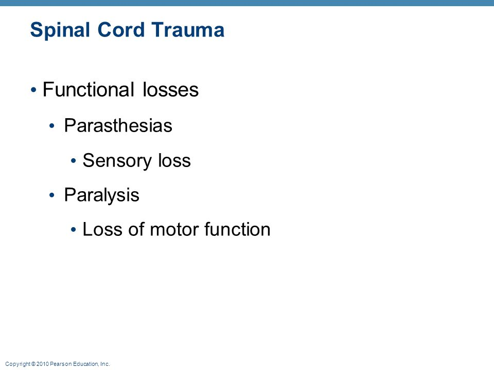 Copyright © 2010 Pearson Education, Inc. Spinal Cord Trauma Functional losses Parasthesias Sensory loss Paralysis Loss of motor function