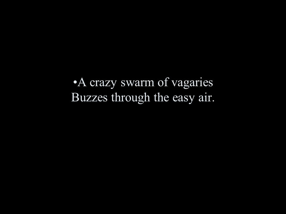A crazy swarm of vagaries Buzzes through the easy air.