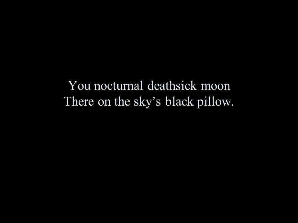You nocturnal deathsick moon There on the sky's black pillow.