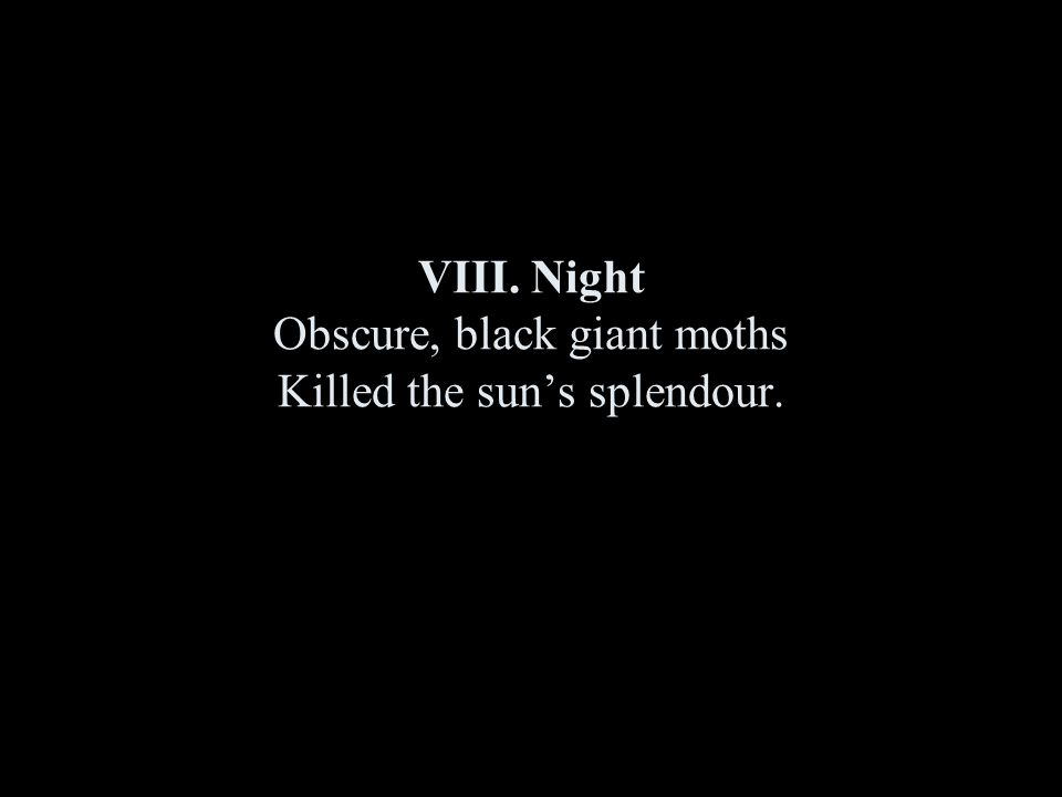 VIII. Night Obscure, black giant moths Killed the sun's splendour.