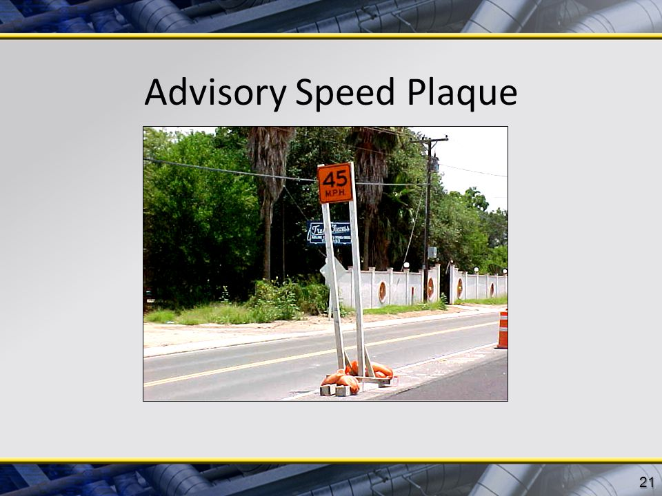 Advisory Speed Plaque 21