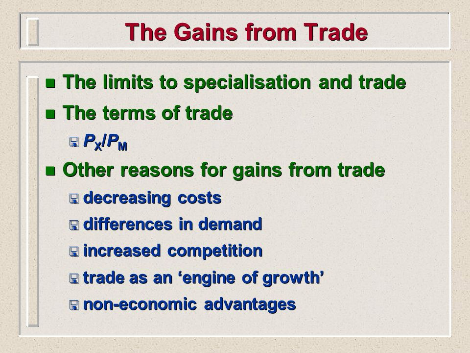 Arguments for Restricting Trade n Methods of restricting trade < tariffs < quotas < administrative barriers < other n Arguments for restricting trade < infant industry argument < changing comparative advantage < to prevent dumping n Methods of restricting trade < tariffs < quotas < administrative barriers < other n Arguments for restricting trade < infant industry argument < changing comparative advantage < to prevent dumping