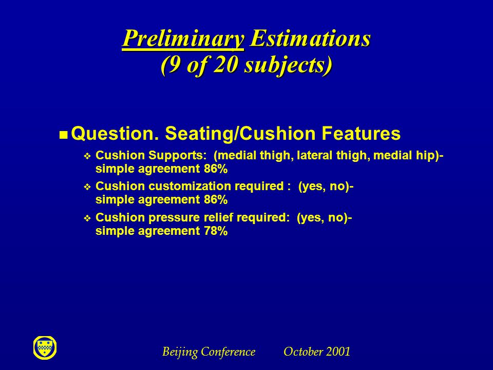 Beijing Conference October 2001 Preliminary Estimations (9 of 20 subjects) n Question. Seating/Cushion Features v Cushion Supports: (medial thigh, lat