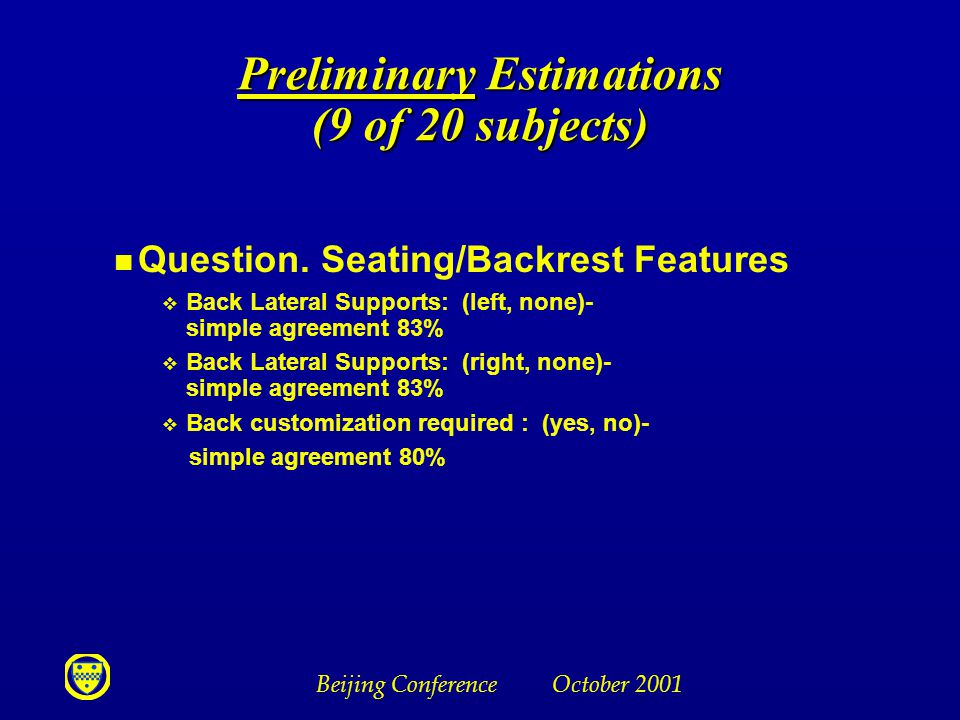 Beijing Conference October 2001 Preliminary Estimations (9 of 20 subjects) n Question.