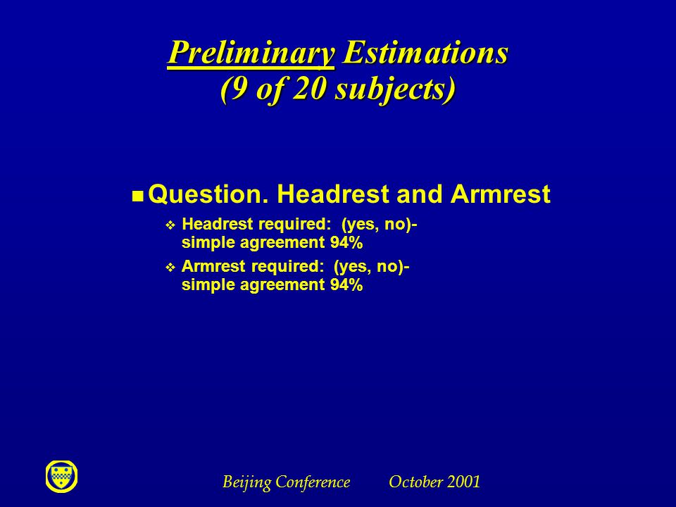 Beijing Conference October 2001 Preliminary Estimations (9 of 20 subjects) n Question. Headrest and Armrest v Headrest required: (yes, no)- simple agr