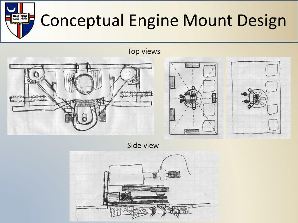 Conceptual Engine Mount Design Top views Side view