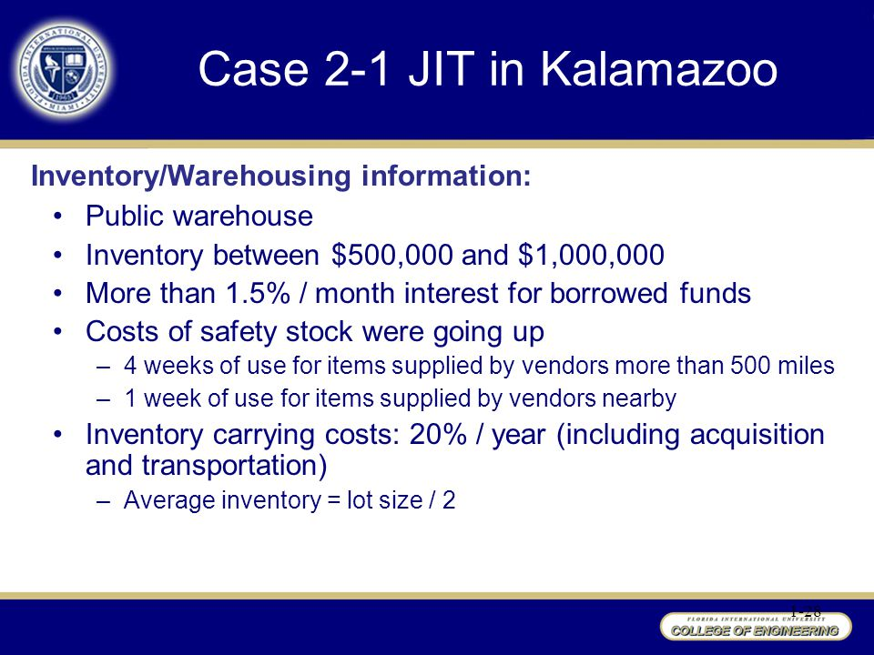 Case 2-1 JIT in Kalamazoo 1-28 Public warehouse Inventory between $500,000 and $1,000,000 More than 1.5% / month interest for borrowed funds Costs of safety stock were going up –4 weeks of use for items supplied by vendors more than 500 miles –1 week of use for items supplied by vendors nearby Inventory carrying costs: 20% / year (including acquisition and transportation) –Average inventory = lot size / 2 Inventory/Warehousing information: