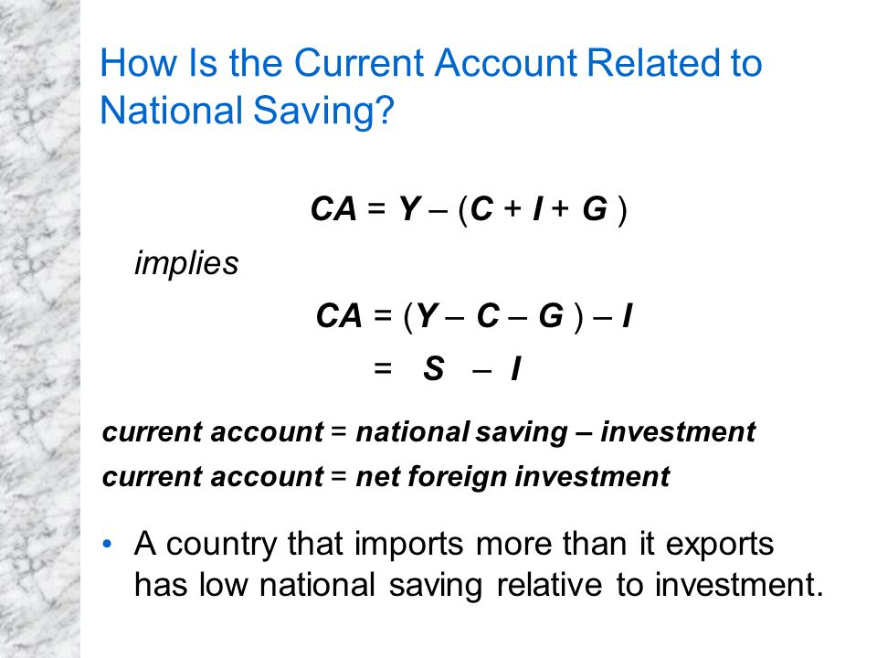 How Is the Current Account Related to National Saving? CA = Y – (C + I + G ) implies CA = (Y – C – G ) – I = S – I current account = national saving –