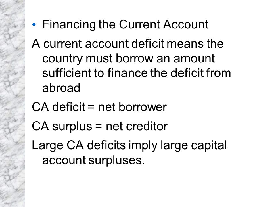 Financing the Current Account A current account deficit means the country must borrow an amount sufficient to finance the deficit from abroad CA defic