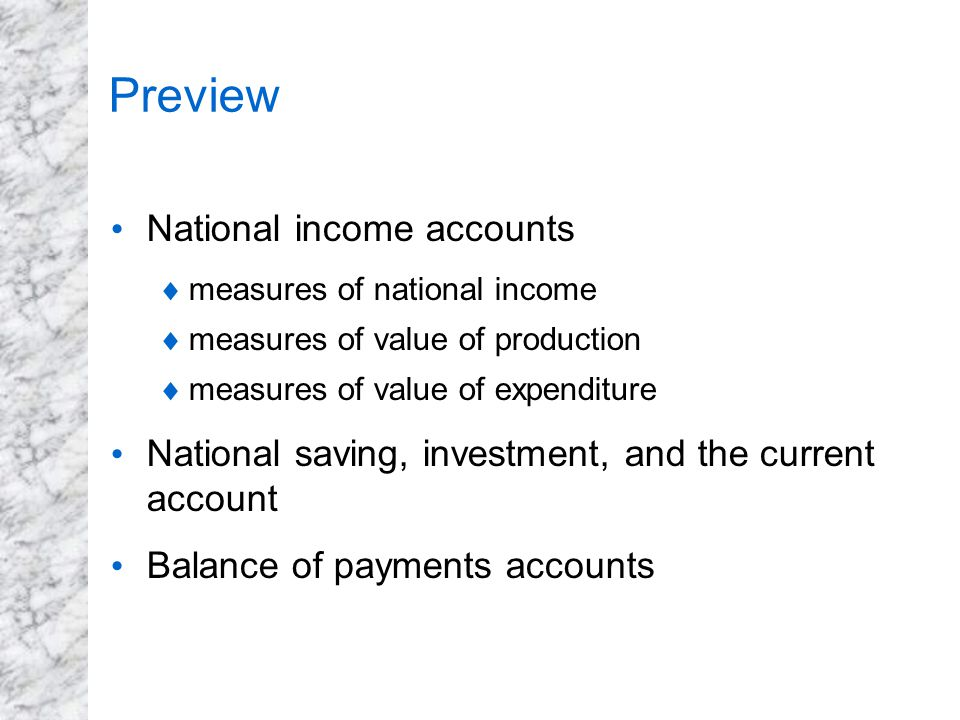 Preview National income accounts  measures of national income  measures of value of production  measures of value of expenditure National saving, i