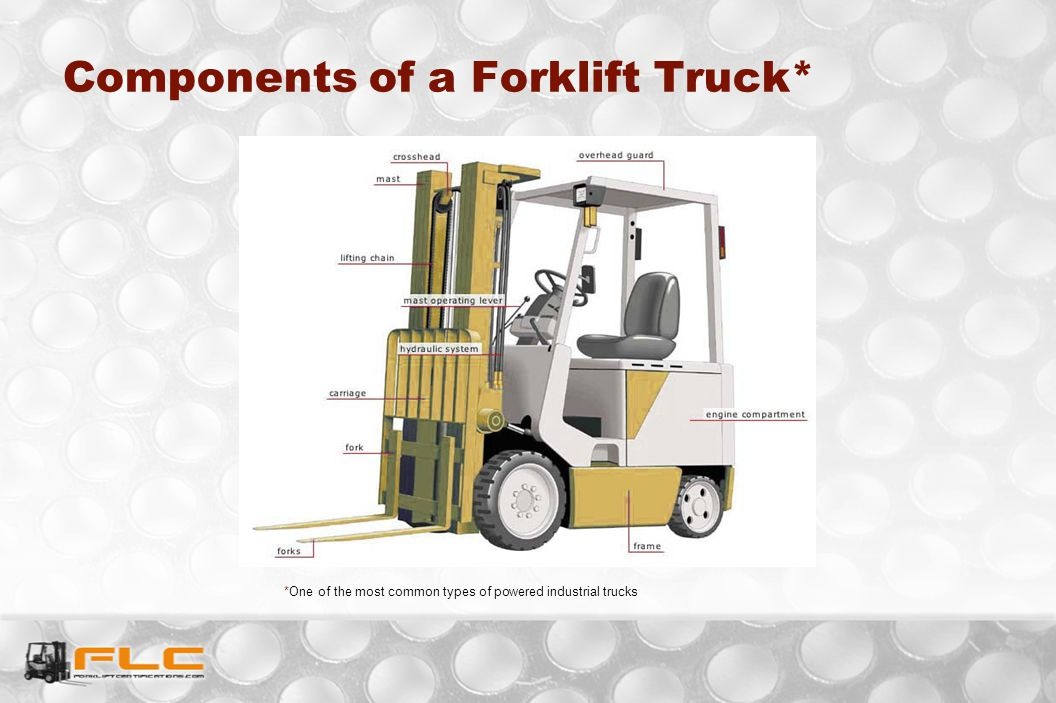 Components of a Forklift Truck* *One of the most common types of powered industrial trucks