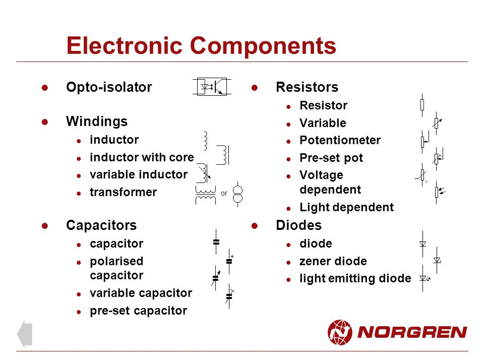 Electronic Components Opto-isolator Windings inductor inductor with core variable inductor transformer Capacitors capacitor polarised capacitor variab
