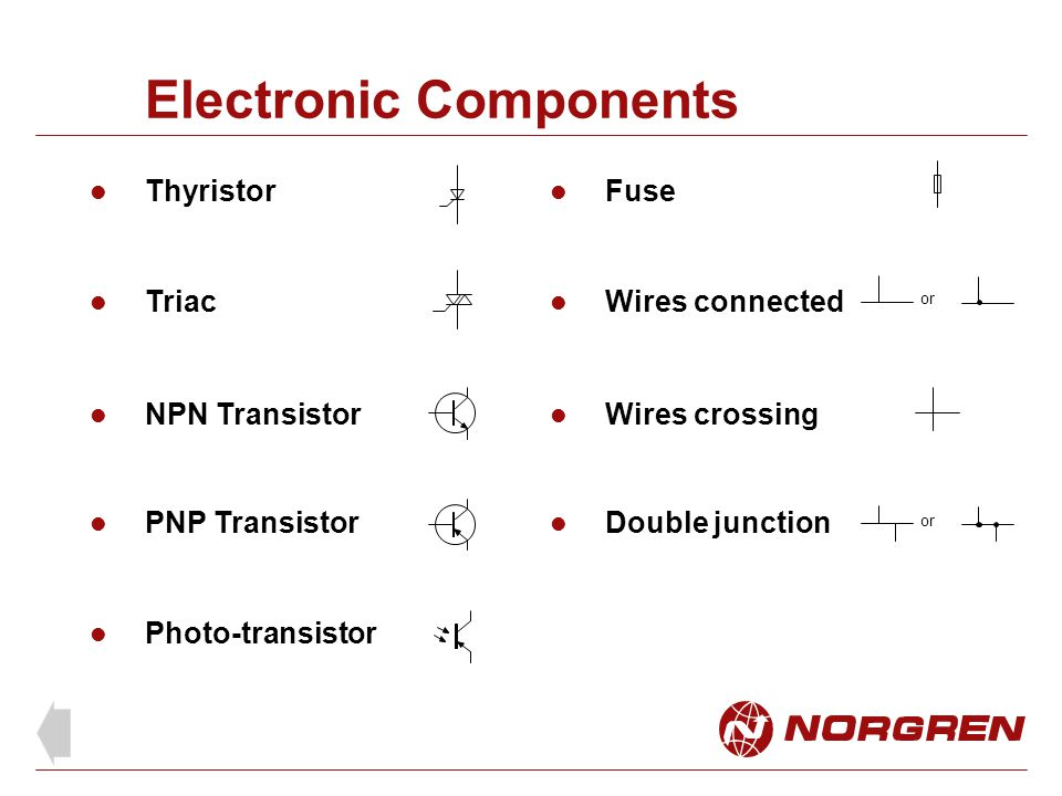 Electronic Components Thyristor Photo-transistor Triac NPN Transistor PNP Transistor Fuse Wires connected Wires crossing Double junction or