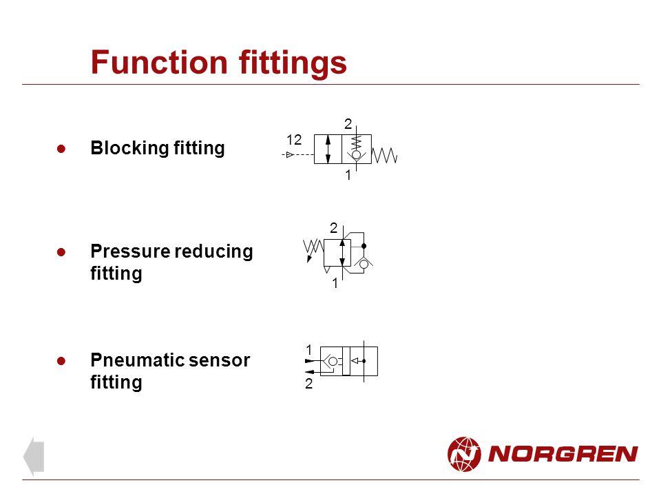 Function fittings Blocking fitting 1 2 12 1 2 1 2 Pressure reducing fitting Pneumatic sensor fitting