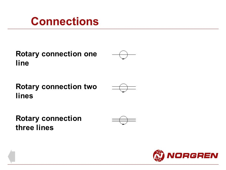Connections Rotary connection one line Rotary connection two lines Rotary connection three lines