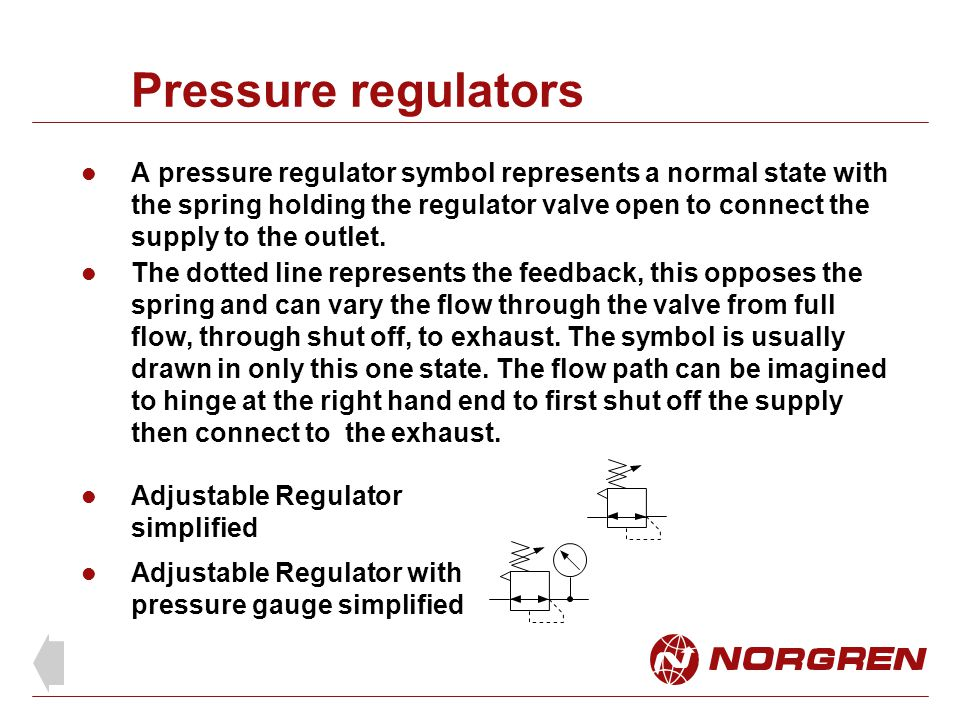 Pressure regulators A pressure regulator symbol represents a normal state with the spring holding the regulator valve open to connect the supply to th