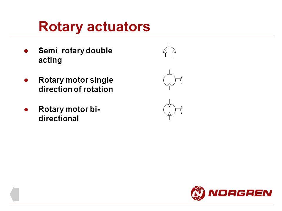Rotary actuators Semi rotary double acting Rotary motor single direction of rotation Rotary motor bi- directional
