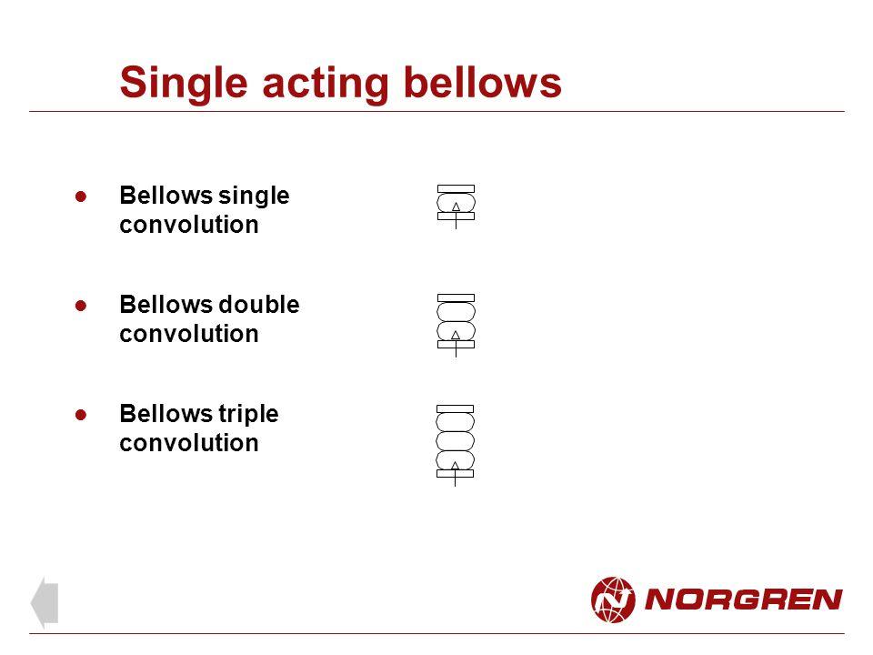 Single acting bellows Bellows single convolution Bellows double convolution Bellows triple convolution