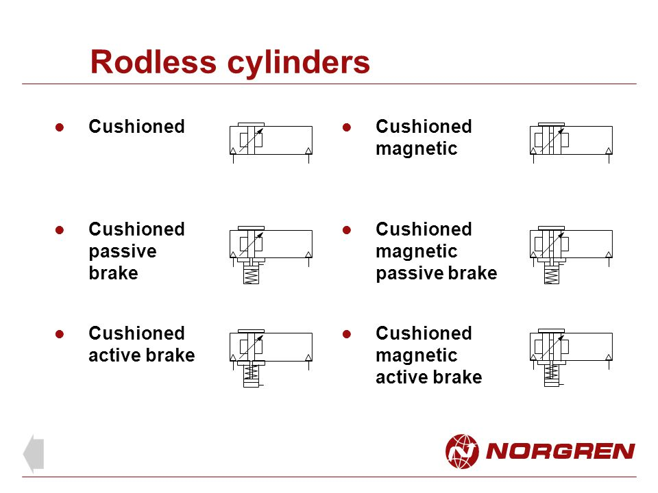 Rodless cylinders Cushioned Cushioned magnetic Cushioned passive brake Cushioned magnetic passive brake Cushioned active brake Cushioned magnetic acti