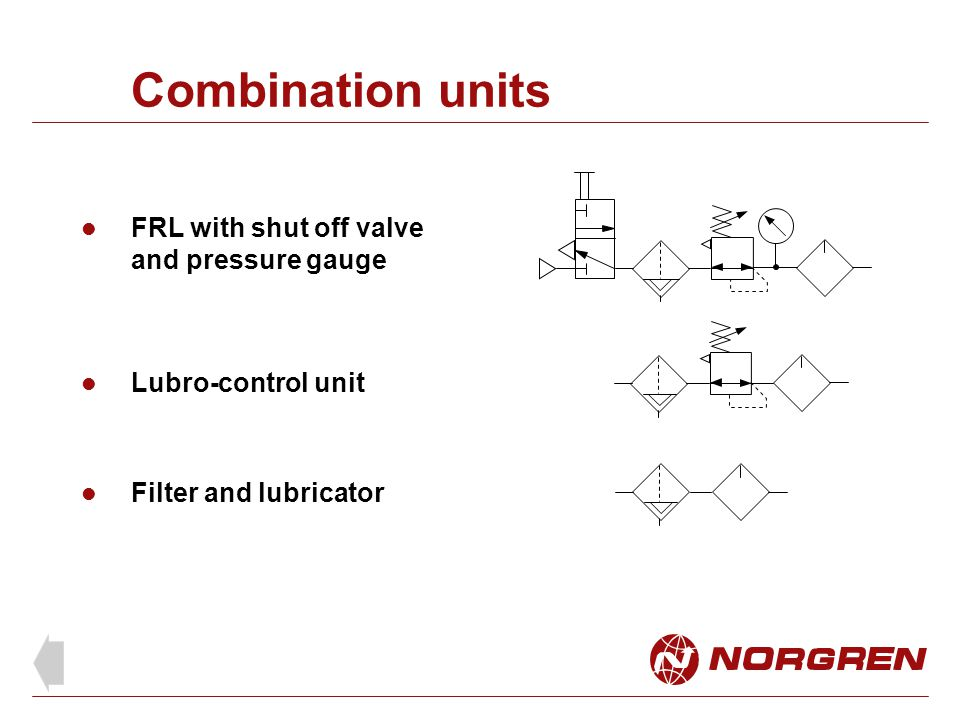Combination units FRL with shut off valve and pressure gauge Lubro-control unit Filter and lubricator