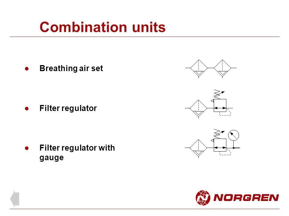 Combination units Breathing air set Filter regulator Filter regulator with gauge
