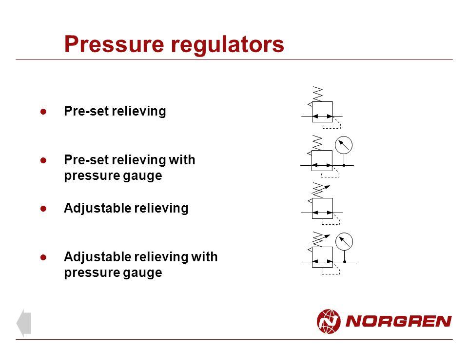 Pressure regulators Pre-set relieving Adjustable relieving Adjustable relieving with pressure gauge Pre-set relieving with pressure gauge