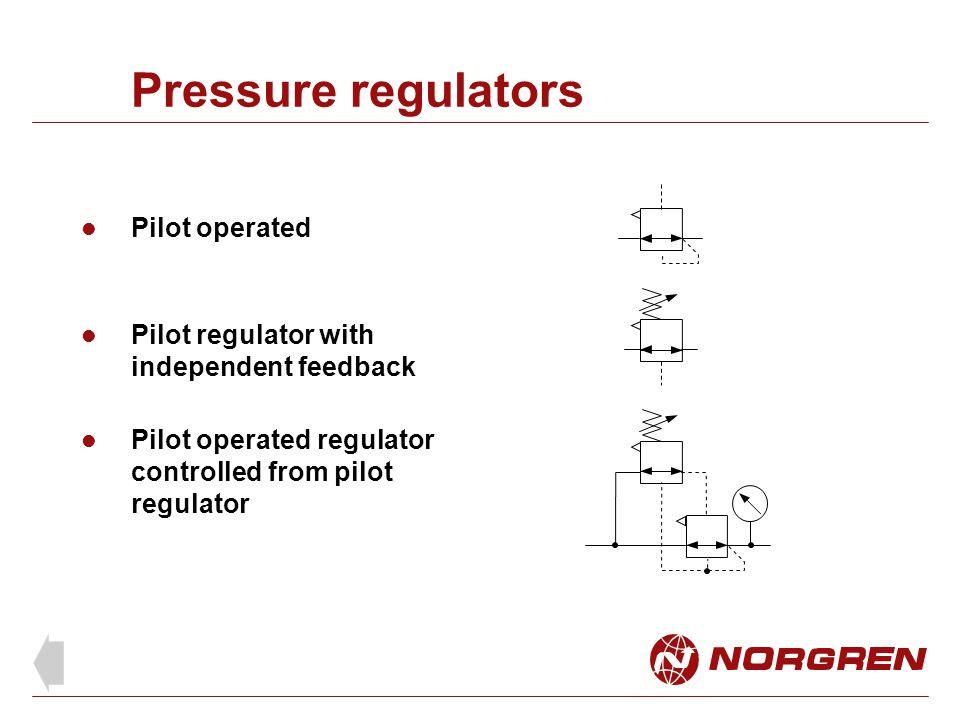 Pressure regulators Pilot operated Pilot operated regulator controlled from pilot regulator Pilot regulator with independent feedback