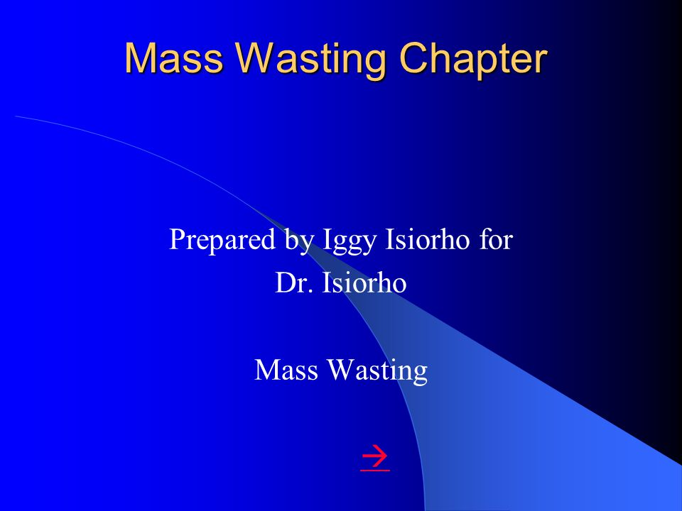 Mass Wasting Chapter Prepared by Iggy Isiorho for Dr. Isiorho Mass Wasting 