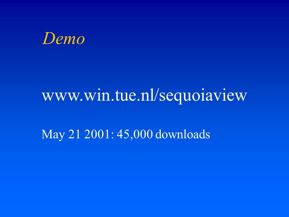 Demo www.win.tue.nl/sequoiaview May 21 2001: 45,000 downloads